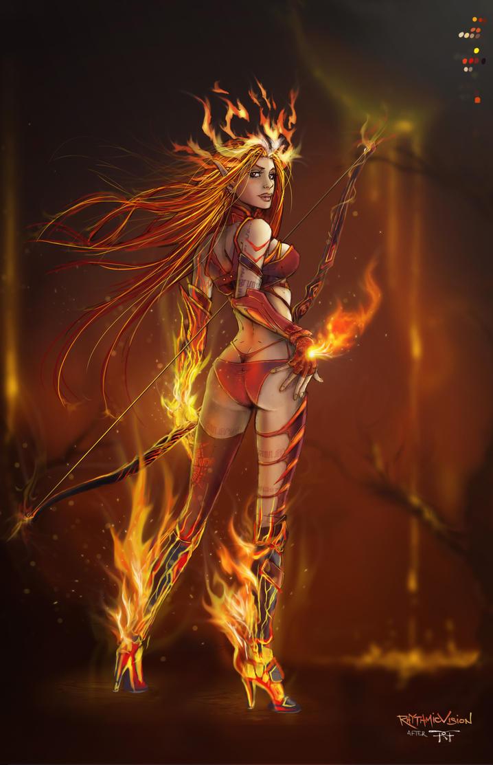 Hellfire ~ Vulcan Fae Archer (after Randy Green) by RhythmicVision