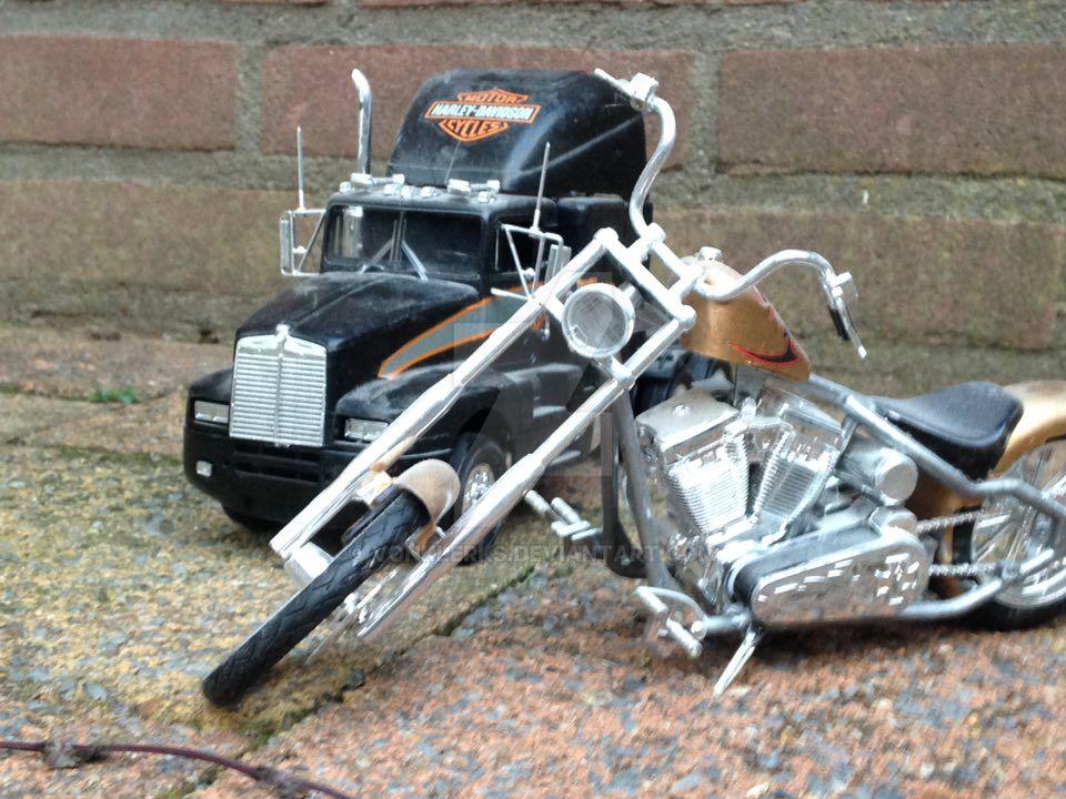 Harley Davidson truck and bike by vonklerks