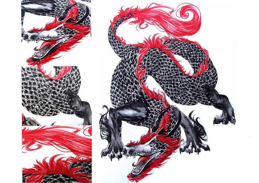 Dragon tatoo design by Mrs-Waffle