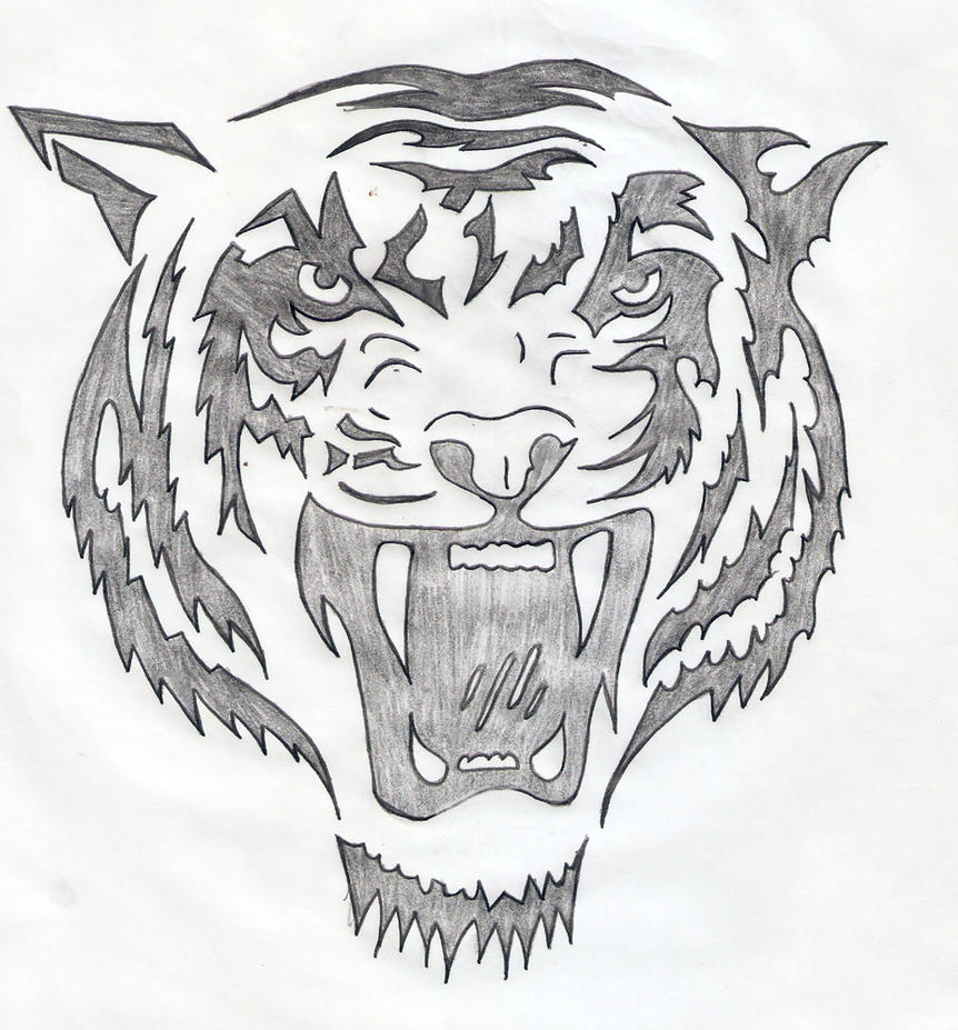 Tiger Line Drawing Easy : Abstract tiger line drawing