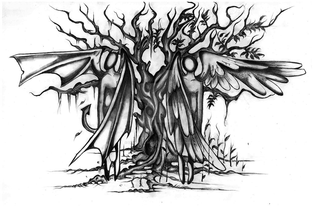 tree with demon and angel tattoo design by dianabathory on deviantart. Black Bedroom Furniture Sets. Home Design Ideas