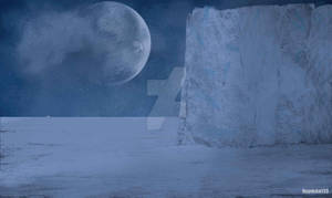 Alien word. A frozen land. Digital art