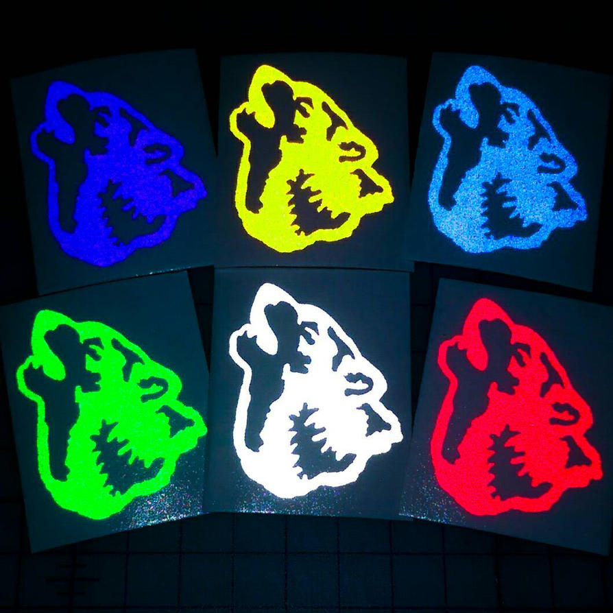 Reflective wolf head decals by bigblued