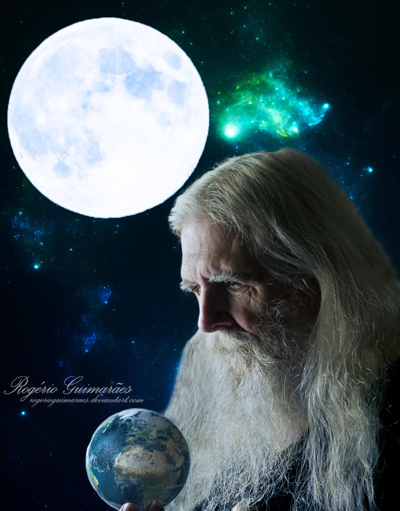Portrait of a Wiseman Under the Moon by RogerioGuimaraes