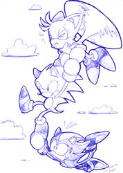 tails sonic and shadow by Faezza