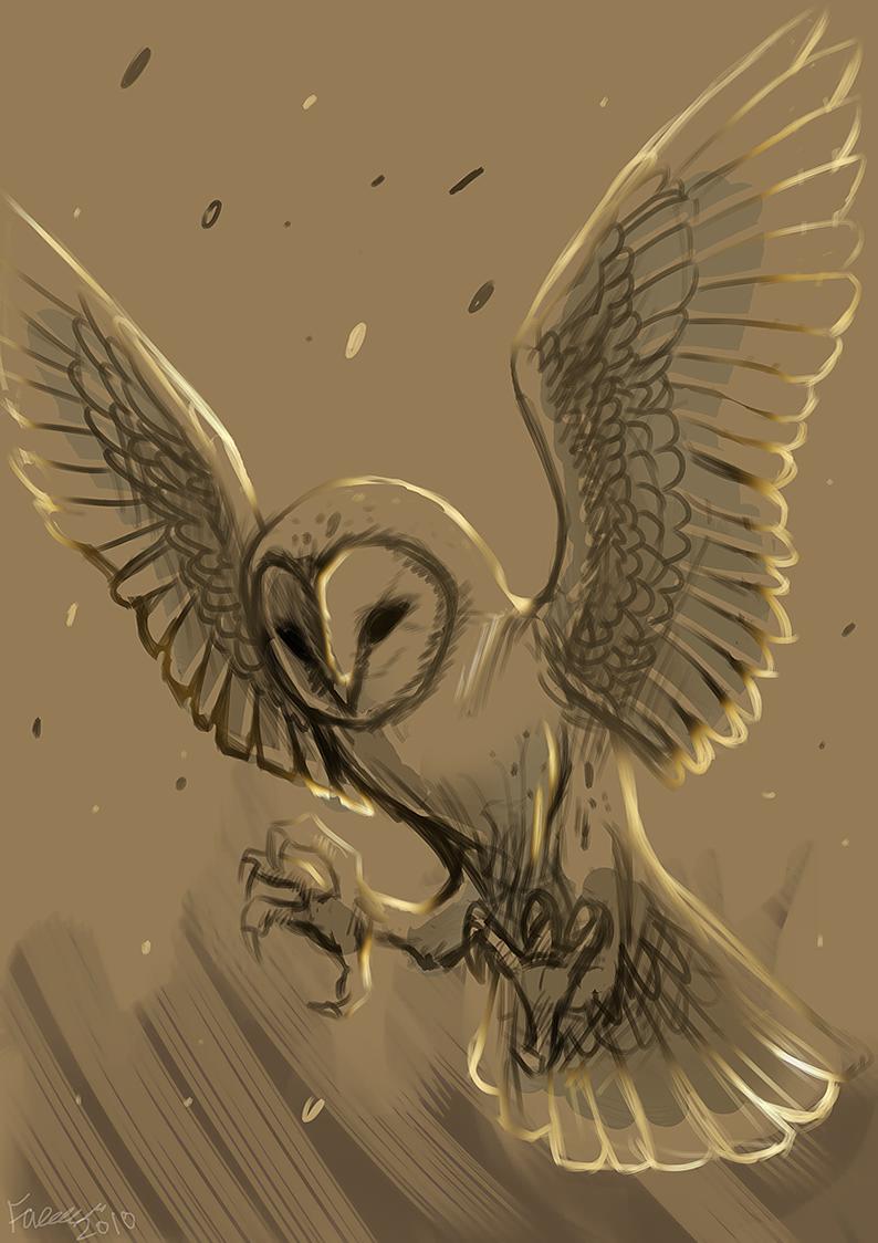 barn owl wip by Faezza on DeviantArt Labyrinth Owl Tattoo