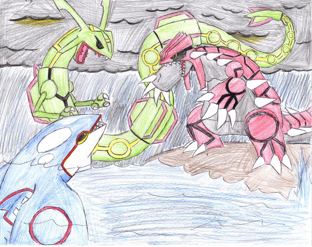 Groudon vs kyogre vs rayquaza by jindaera on deviantart - Pictures of groudon and kyogre ...
