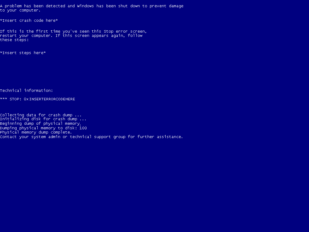 Windows 7 Blue Screen Of Death Template By Mayugaph On