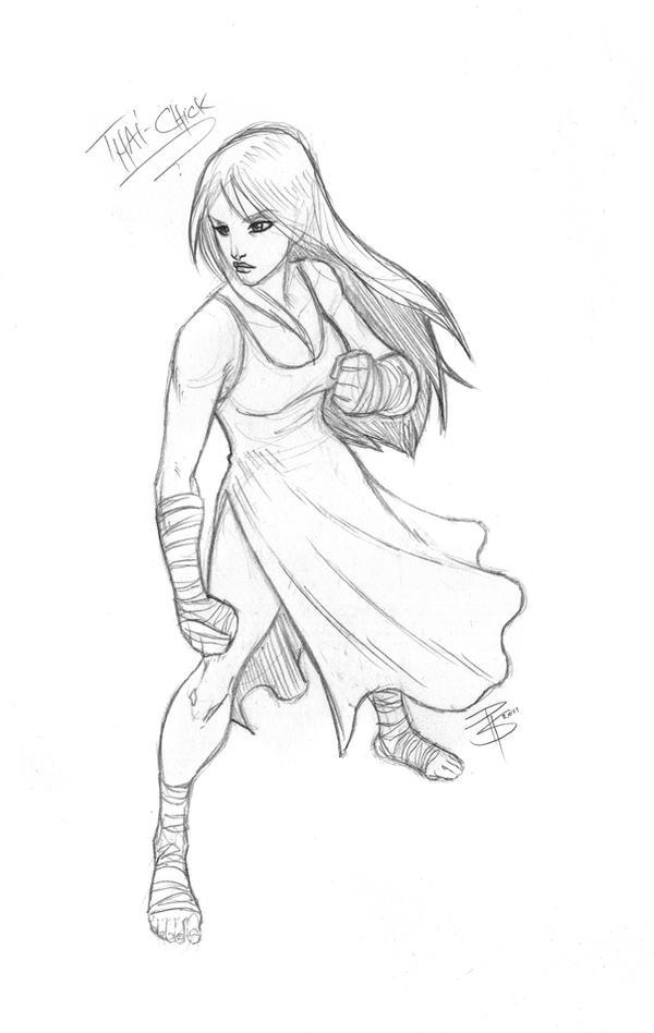 SketchCom: Muay Thai Girl by FooRay on DeviantArt