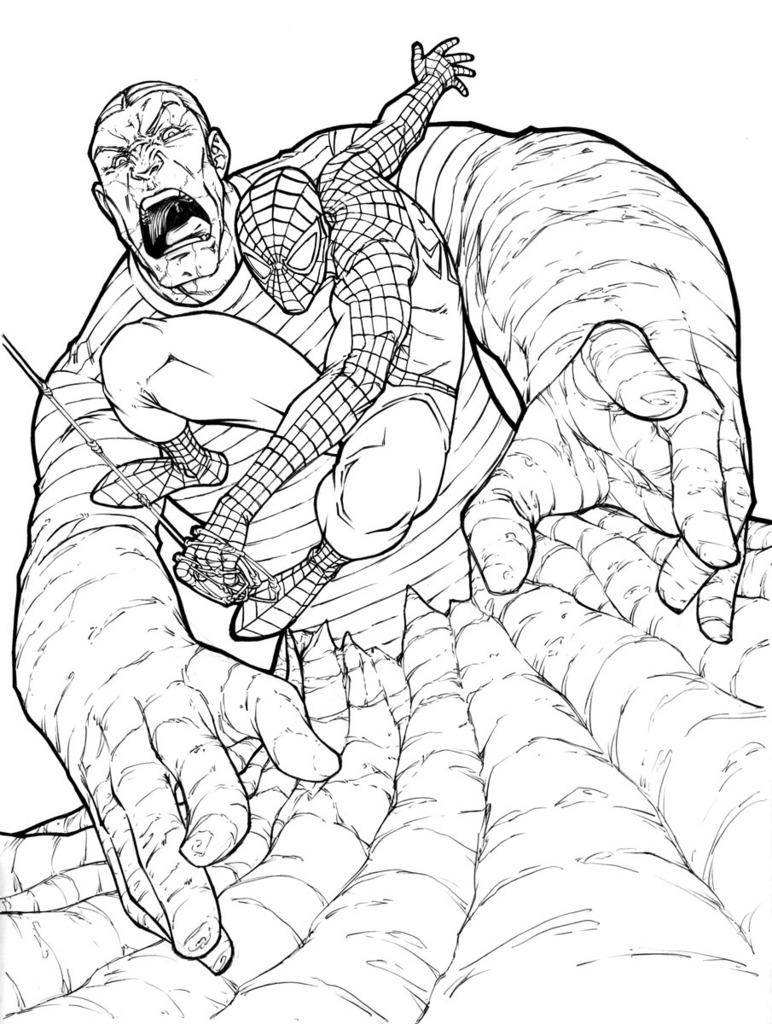 Человек песок из человека паука раскраска