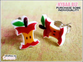 kyaaa.biz - Cute Apple core Ear Studs - Vegan by shiricki