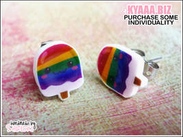 kyaaa.biz - Rainbow Popsicles Ear Studs by shiricki