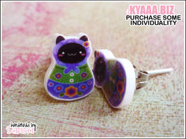 kyaaa.biz - Matryoshka Cat Ear Studs by shiricki