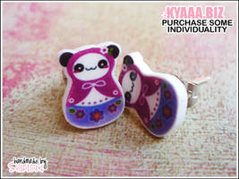 kyaaa.biz - Matryoshka Panda Ear Studs by shiricki