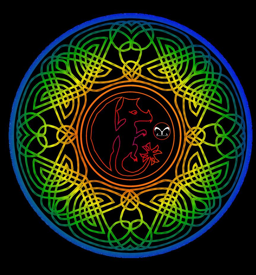Celtic dragon mandala color 1 by vlindertje235