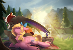 Commission - Picnic Cuddles by TangoMangoes