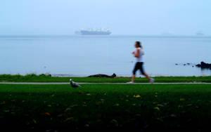 English Bay Morning Jogger by nyxchaotica