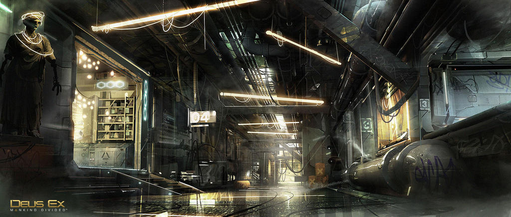 Deus Ex - Mankind Divided - Back Alley by MatLatArt