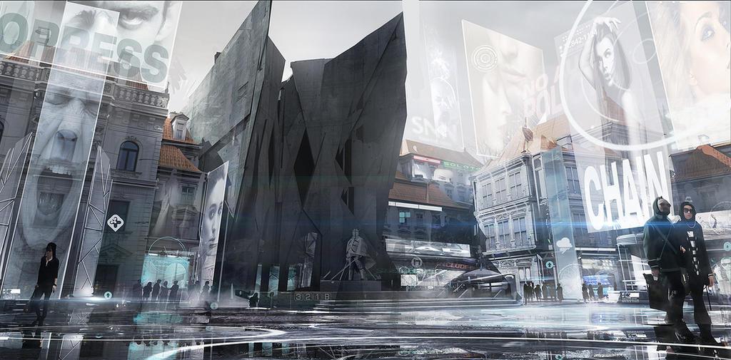 Deus Ex Mankind Divided - Prague modern District by MatLatArt