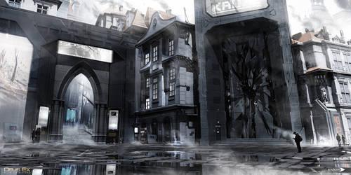 Deus Ex Mankind Divided - Prague street 02 by MatLatArt