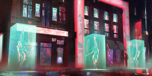 Deus Ex Mankind Divided - Red Light District 01 by MatLatArt