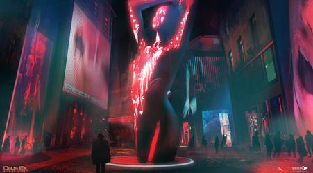 Deus Ex Mankind Divided - Red Light District 02 by MatLatArt