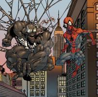 Spidey and Venom at dusk by Boteyas