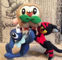 Popplio Rowlet and Litten (felt dolls)