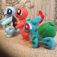 Squirtle, Charmander, and Bulbasaur (felt dolls)