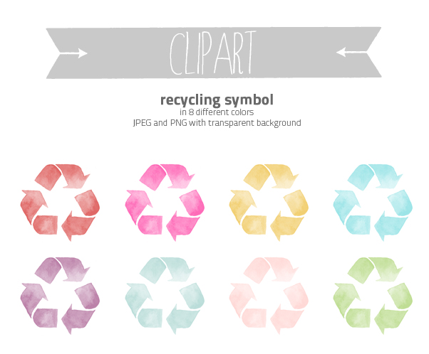 clipart watercolor recycling symbol by excentric