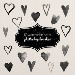 ps brushes - small watercolor hearts by excentric