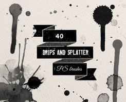 PS brushes: watercolor ink splatters and drips