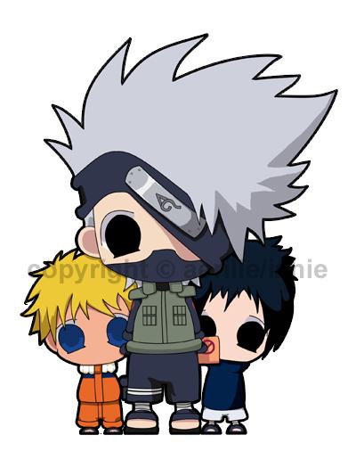 Chibi Naruto, Kakashi, Sasuke