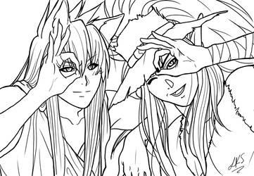 Youko and Kuronue - lineart by Yon-kitty