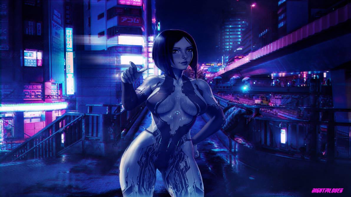 Cyber girl in neon city