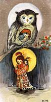 owl moon night dream by BlueBirdie