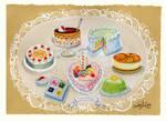 Petite Cakes Birthday painting