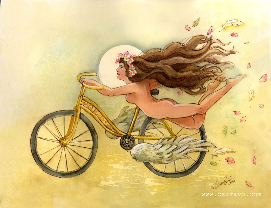 Bicycle Angel Watercolor by BlueBirdie on DeviantArt
