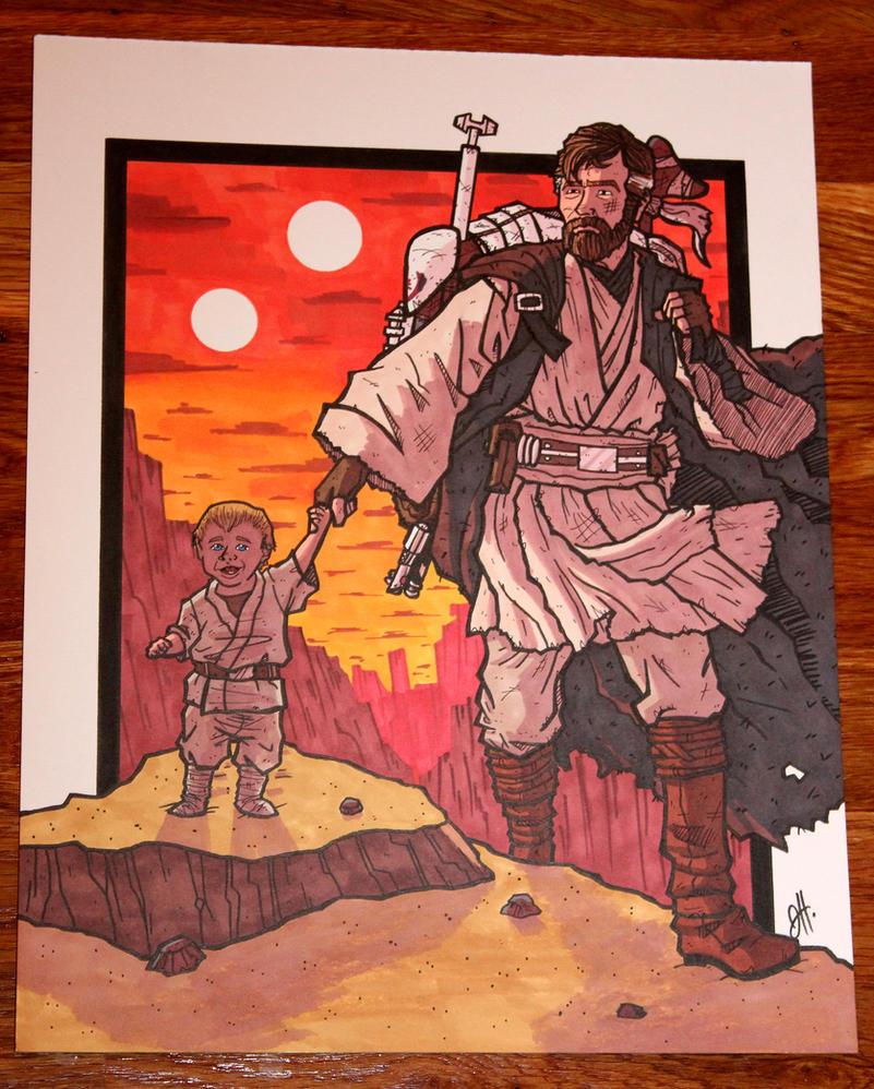 Commish - Walking With Kenobi by JoeHoganArt