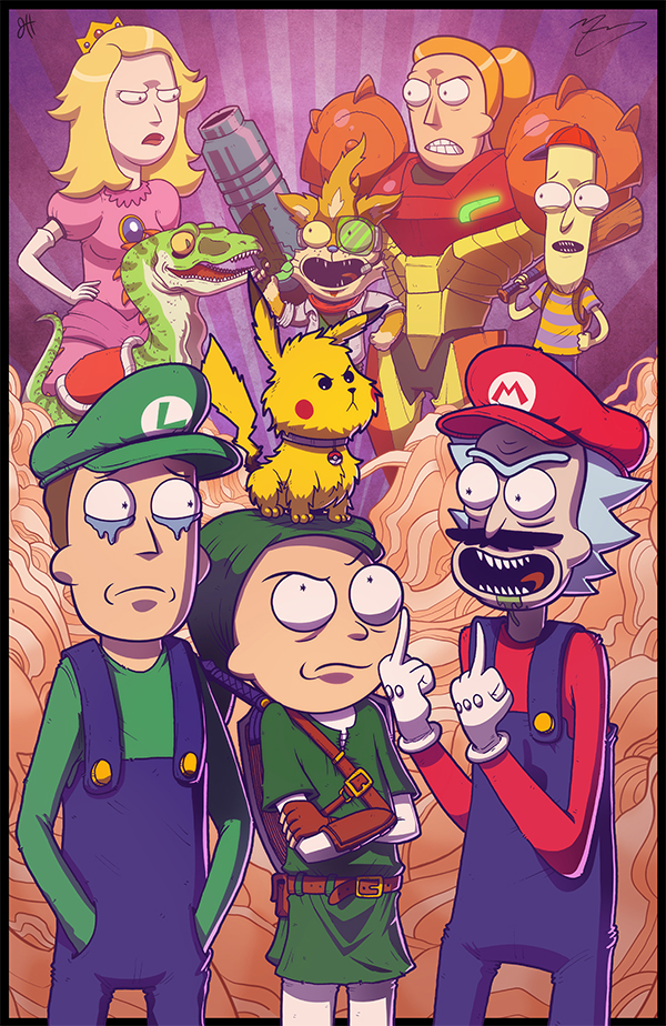 COLLAB PRINT - Rick and Morty Meet Smash Bros by JoeHoganArt