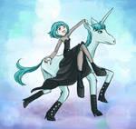 Gaga riding a Unicorn