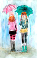 two standing in the rain by Chocoreaper