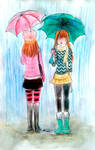 two standing in the rain