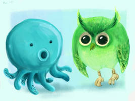 Teal Octopus + Green Owl by Chocoreaper