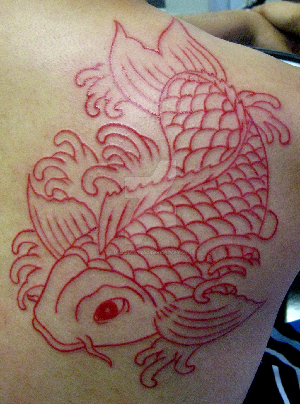 Red outline koy tattoo by micaeltattoo