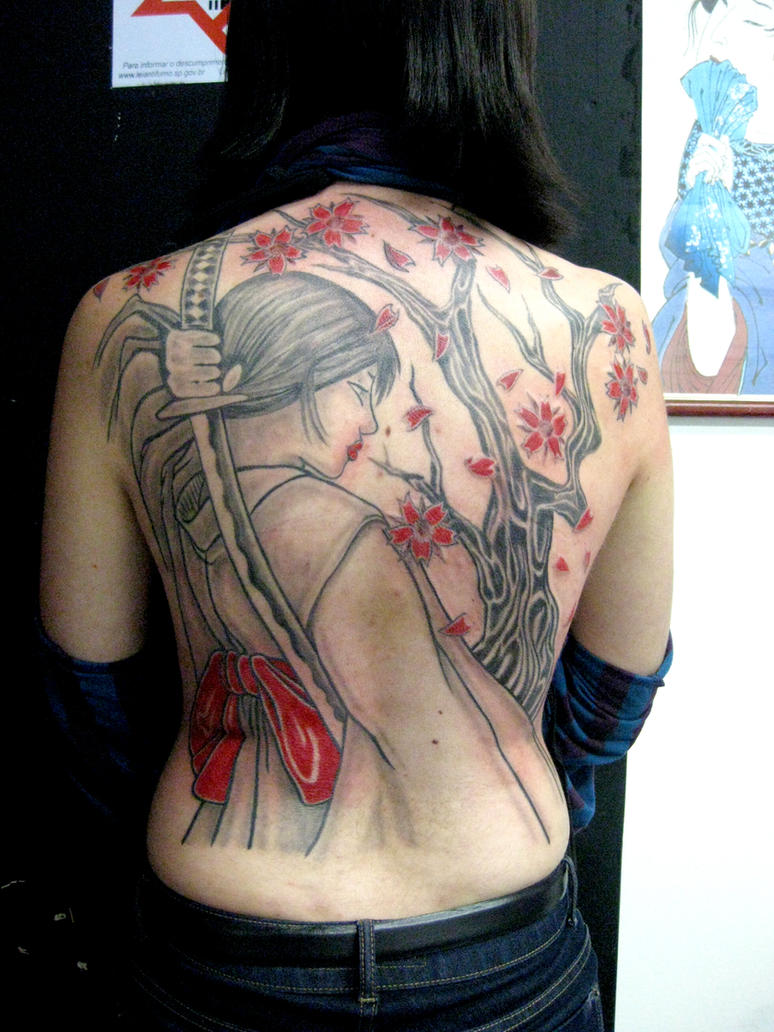 Tatuagem Samurai Girl Tattoo by micaeltattoo