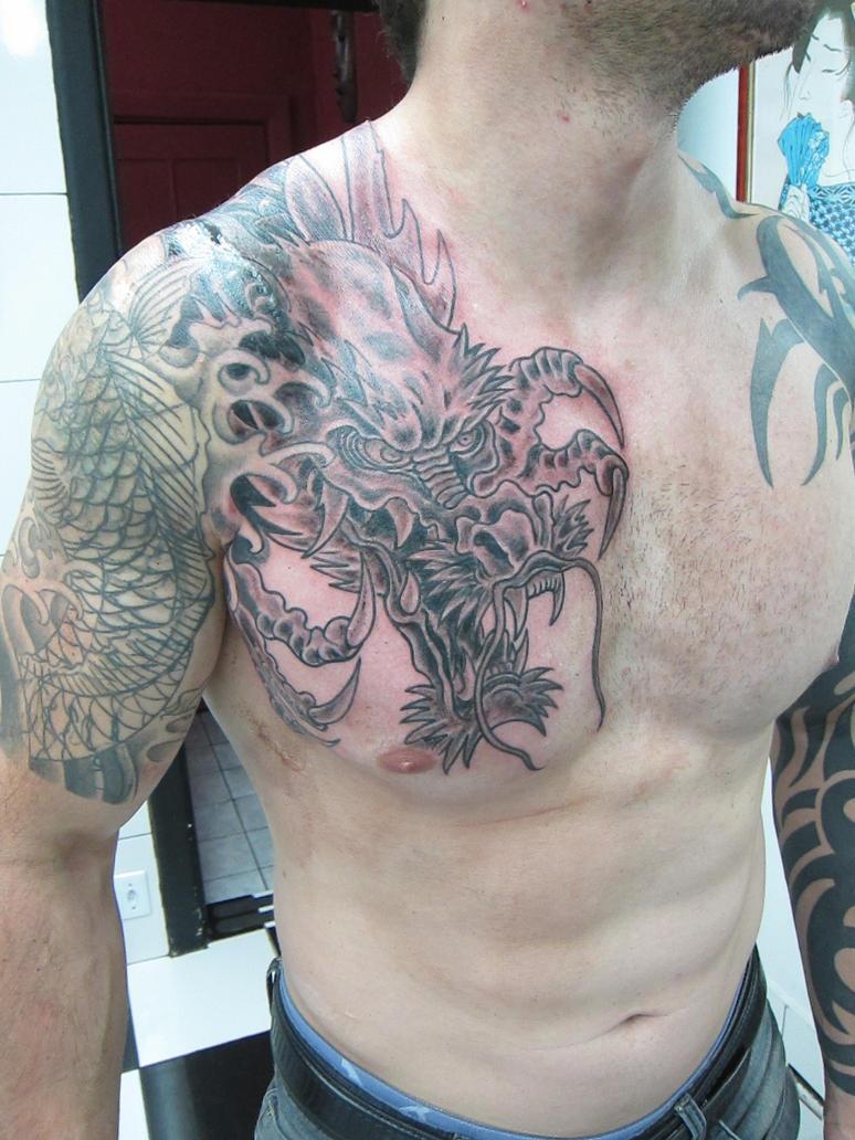 Dragon Chestpiece by micaeltattoo