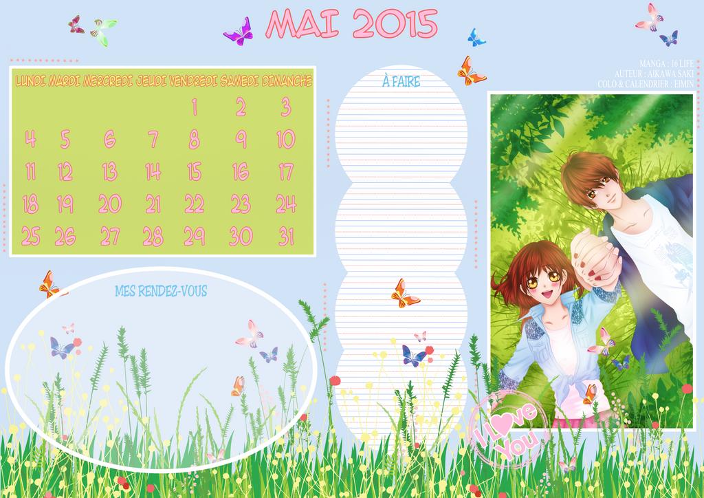 Calendrier mai 2015 by eimin7 on deviantart for Calendrier lunaire jardin mai 2015