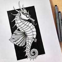 Inktober Day4 Seahorse by Dylias