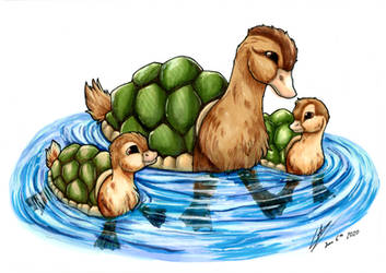 Turtleduck Family by LupiArts